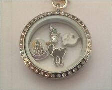 Halloween Witch Globe Ghost Black Cat Floating Charms for Origami Memory Locket