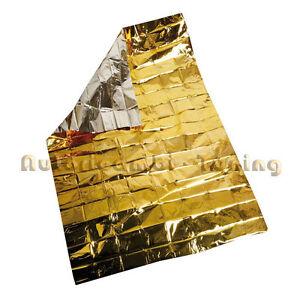 Coperte Termiche Oro Argento.Detalles De 66964 Metallina Coperta Termica Isotermica Oro Argento Dimensioni 160x210 Cm