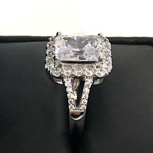 Large 3Ct Radiant Diamond Halo Ring Women Jewelry Gift 14K White Gold Plated