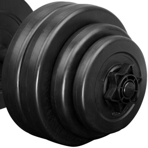 2x Set d/'haltères courts revêtement plastique poids barres musculation 30 kg