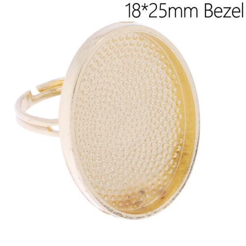 Lot 20Pcs 18*25MM Oval Shallow Bezel Pad Adjustable Ring Blank Bases Setting