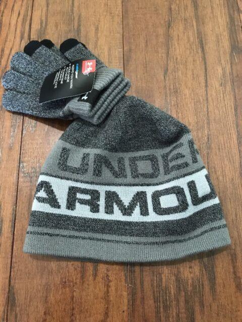 NEW Youth Boys UA Under Armour Hat   Glove Set - Gray   Black - One 98cc49223ce
