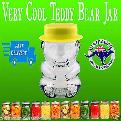1 x Novelty Teddy Bear Honey Glass Jar Complete Lid Yellow Hat Jam