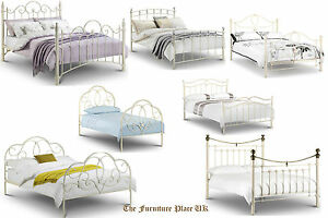 Vintage Shabby Chic Style Metal Bed Frame Stone Cream Single Double
