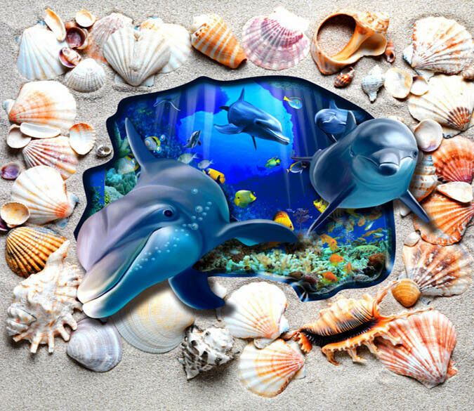 3D Shell Dolphin Dolphin Dolphin 778 Floor WallPaper Murals Wall Print Decal AJ WALLPAPER US a15d9f