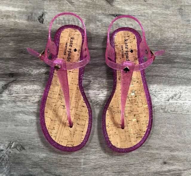 3acf9ab8b03a NWOT Kate Spade Jelly Sandals  Yari  T Strap Pink Glitter Cork Shoes Size 7