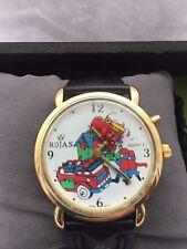 Unisex Quartz Rojas Analogue Collectors Item Moving Disc Fire Engine Strap watch