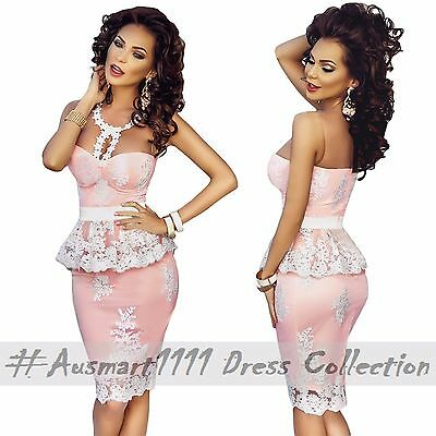 Pink Peplum Midi Strapless Dress with White Floral Embroider - Formal Occassion
