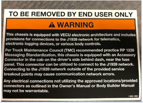 ADAPTER ONLY*  NOT HARNESS!* Peterbilt OmniTracs© to RP1226 VECU 2019 /&UP Paccar