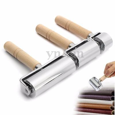 26/60/100mm Leather Glue Edges Roller Craft Handmade Crease Tool Wooden & Steel