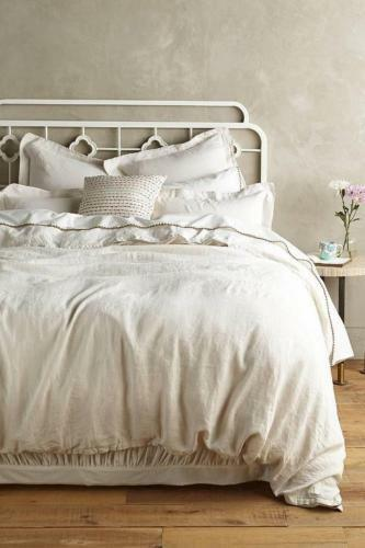 NEW ANTHROPOLOGIE NATURAL NUETRAL SOFT WASHED LINEN DUVET COVER QUEEN