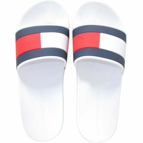 Tommy Hilfiger Flag Logo Pool Slides White