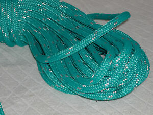 Double Braid Polyester line 7/16x150 ft yacht teal green/white tracer halyard