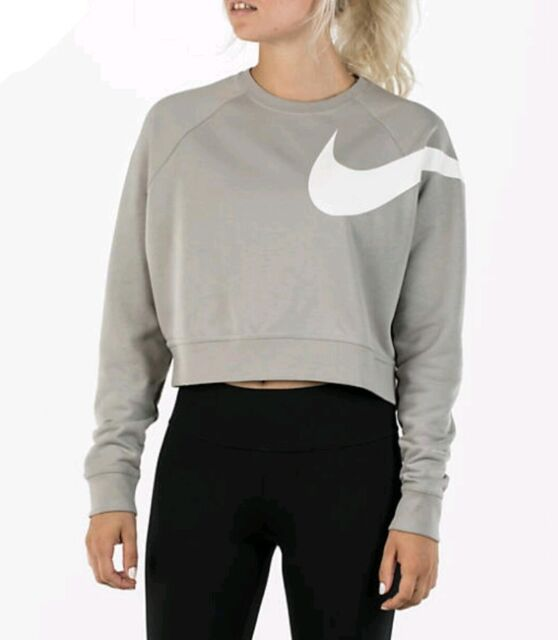 LARGE NW Nike Cropped Long Sleeve Crew grey Sweatshirt Top BIG SWOOSH AJ4305 016