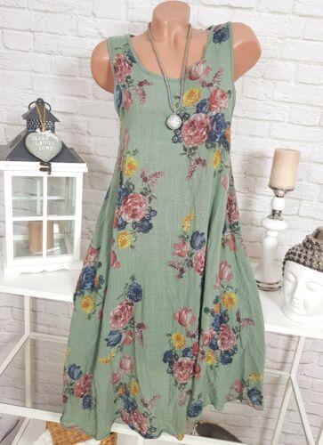 ITALY Damen Blumen Kleid Leinen Optik Oversize Midi Sommer Floral Khaki 40 42 44