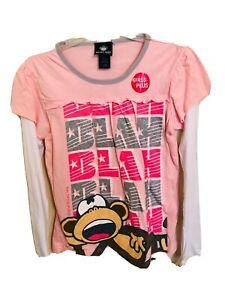 BOBBY JACK Girls Plus XL (18.5) Long Sleeve Blah Blah Blah Pink T-Shirt NWT NEW