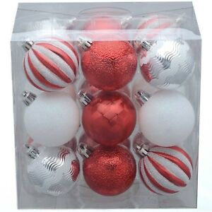 Image Is Loading Holiday Time Christmas Tree Ornaments 18 Pack Red