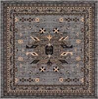 Traditional Gray Rug Area Rug Oriental Rug 8' X 8' Square Rug Classic Carpet