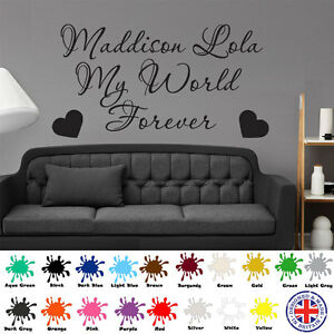 My World Forever Personalised Childrens Name Vinyl Wall Art Decal Sticker