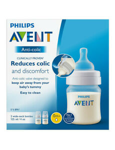 Philips-Avent-Feeding-Bottle-Baby-0-Toodler-Reduces-Colic-Wide-Neck-125ml-2Pack