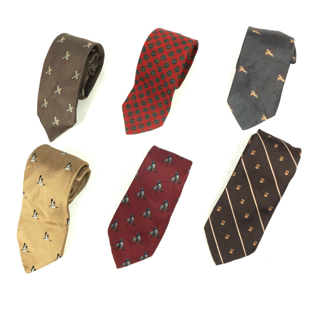 #12 Mixed Lot of 6 Vintage Men's Dresswear Color, Mixed Patterned Neck Ties