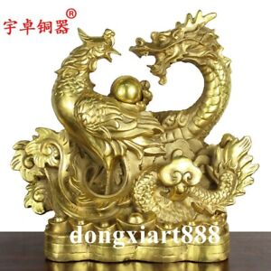 China Old collection Pure copper Handmade Dragon and Phoenix Auspicious Statue