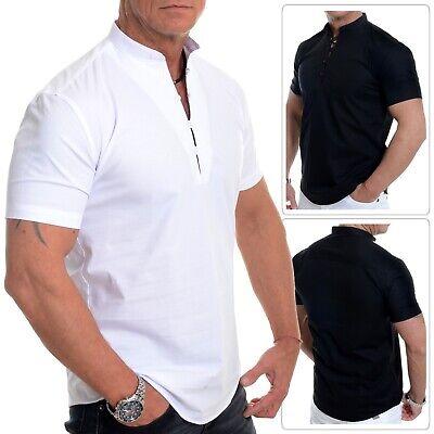 Men's Henley Manica Corta Camicia Smart Loop Collo Serafino Cotone Bianco Nero- Profitto Piccolo