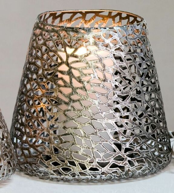 Windlicht Kerzenhalter Purley Antik Silber Metall H 20 Cm