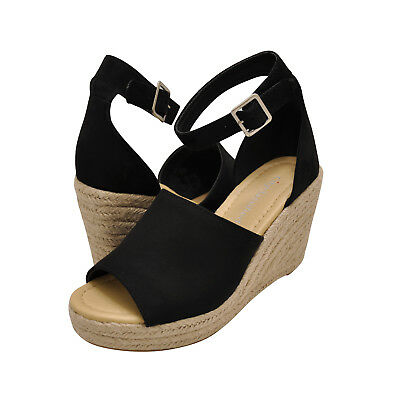 2e06ae1db07 Women's Shoes City Classified JOY Platform Wedge Espadrille Sandals BLACK |  eBay