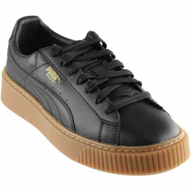 PUMA Basket Platform Core Womens Black Leather Lace up SNEAKERS Shoes 8