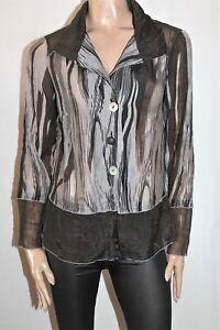 KAMIKO-Designer-Striped-Chiffon-Long-Sleeve-Shirt-Top-Size-12-SJ20