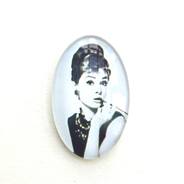 2 OVAL GLASS AUDREY HEPBURN CABOCHONS 18 x 25mm Breakfast at Tiffanys Image