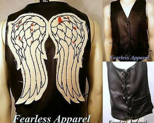 Authentic The Walking Dead Dead Dead Daryl Dixon Bloody Angel Wings Leather Vest Jacket 022