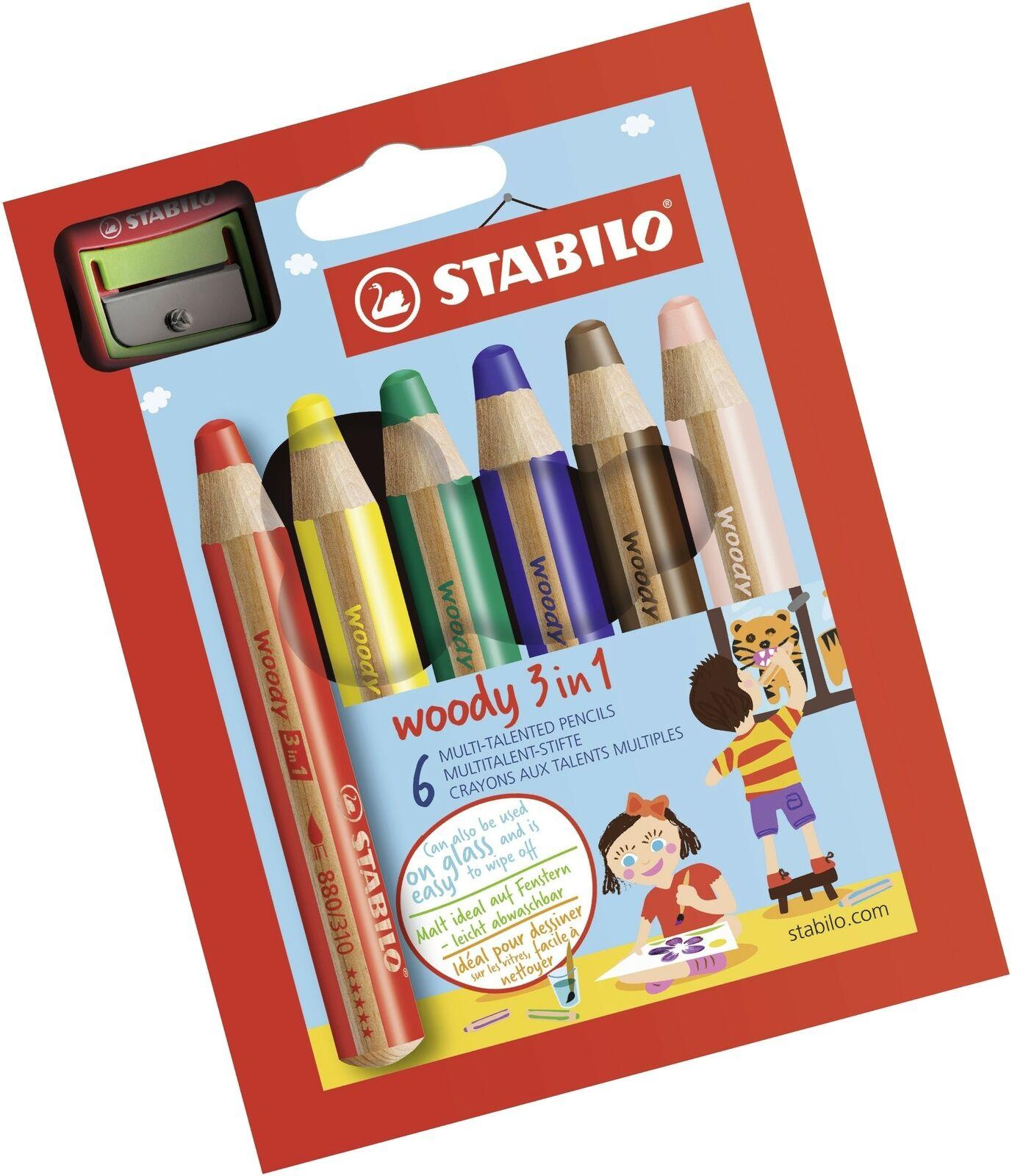 Woody 3 in 1-18 Jumbo Easy-Grip Watercolour Pencils with Sharpener STABILO