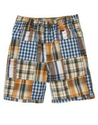 NWT Gymboree Summer Wheels Motorcycle Plaid Patchwork Shorts Size 2T,3T,4T,5T