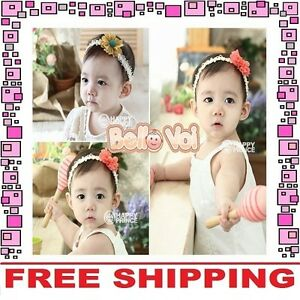 a0f90c97e Image is loading Cotton-Flower-Bow-Headband-Hair-Clothing-Accessories-Girls-