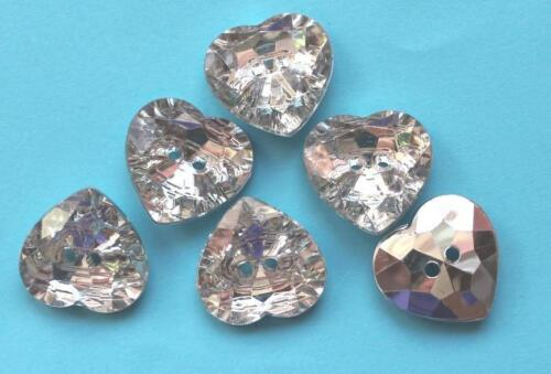 Boutons strass clair goutte fleurs coeurs tailles bouton boutons strass 2 trous NEUF