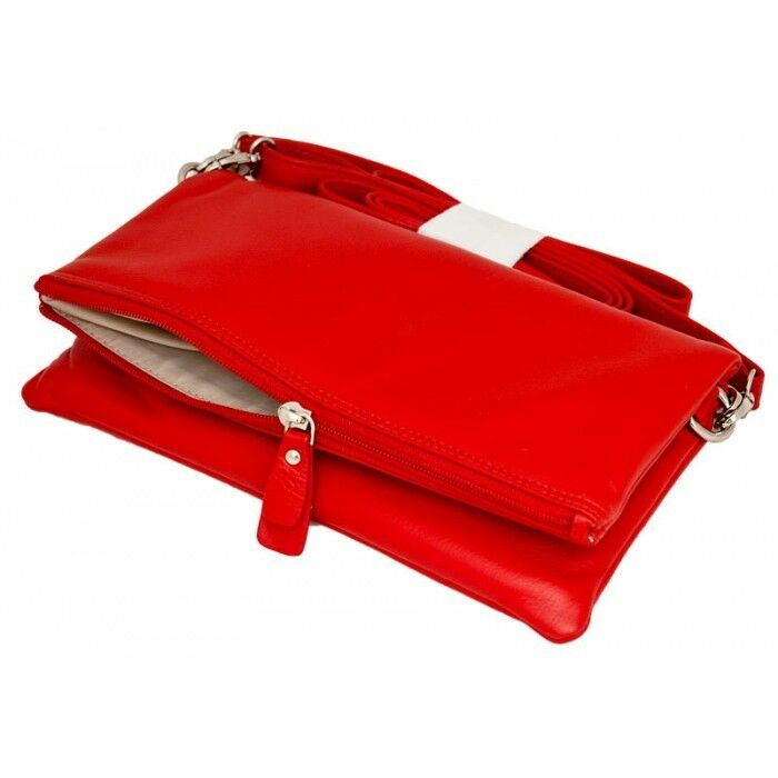 Leather Anishka Flap Over Clutch Bag Red & Black - Mala