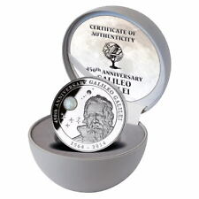 2014 Cook Islands Galileo Galilei 450 Anniversary Moonstone 2 Oz Silver Coin