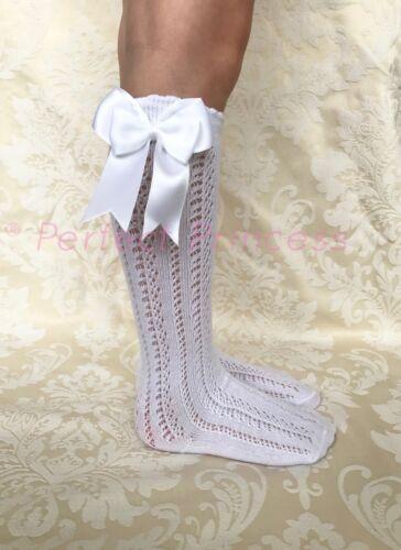 Spanish//Romany Knee High Openwork Double Bow Socks Girls//Baby//Summer//School