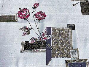 SALE-3YDS-Asian-Mid-Century-Barkcloth-Era-Vintage-Fabric-Eames-Architectural-DIY