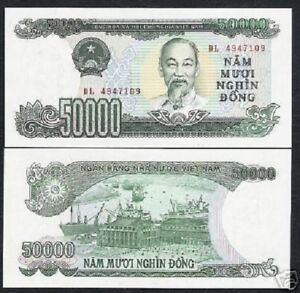 VIETNAM 50 DONG 2001 COMM POLYMER P 118 UNC WITH FOLDER