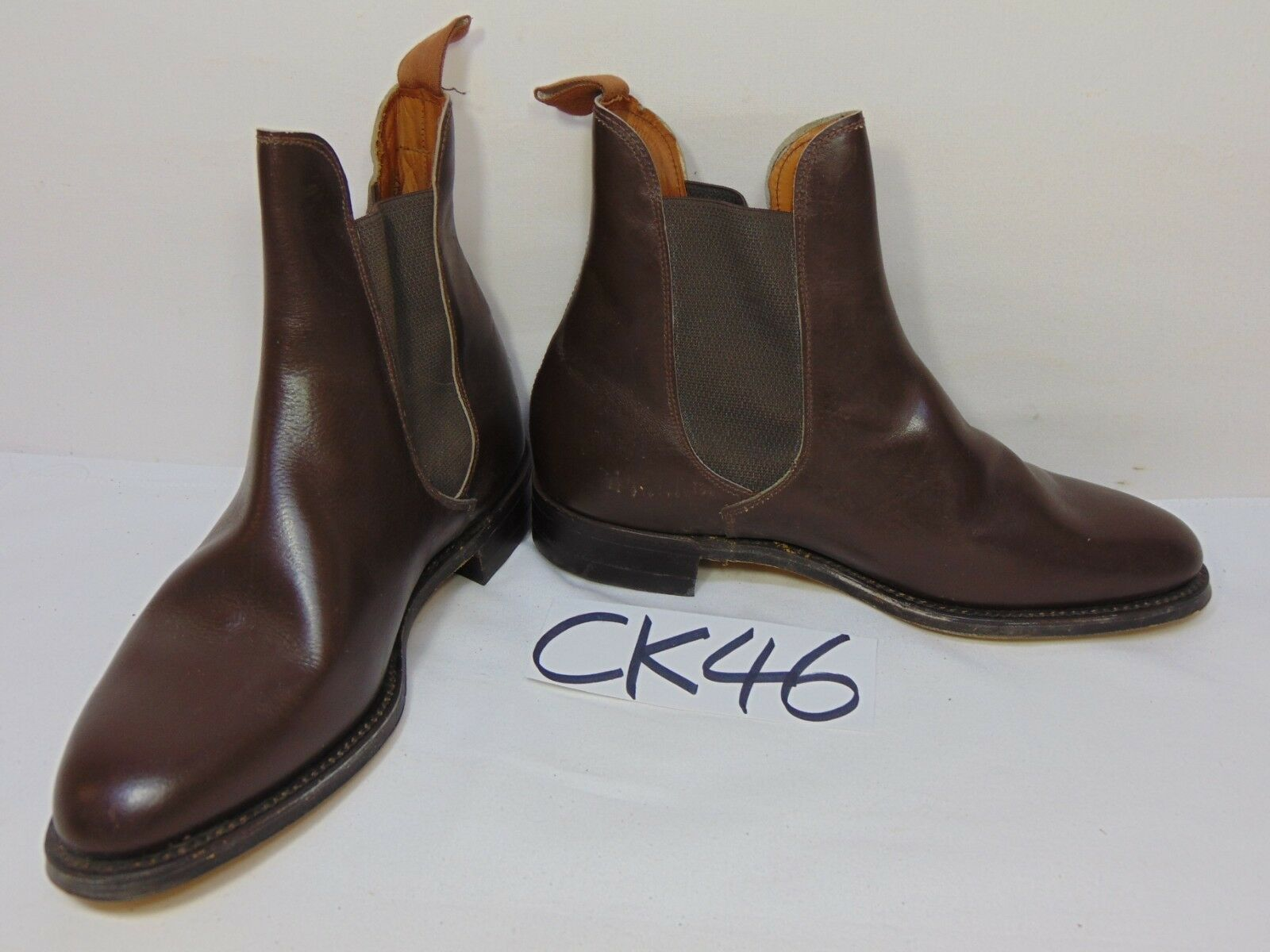 1970's Brown Brown Brown  bluee Ribbon  Chelsea Boot with heel leather sole England Jodhpur 42c293