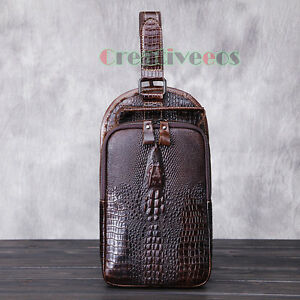 Tasche-Herren-Echtleder-Schultertasche-Jahrgang-Krokodil-Messenger-Brusttasche