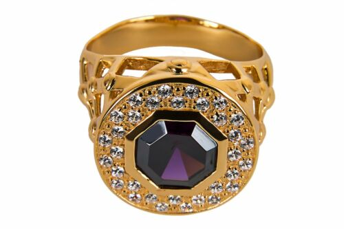 Yellow Gold Plating New Mens CLERGY BISHOP RING Purple Stone Subs690G-P