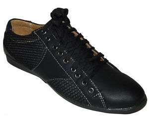 brand new black lace up fashion sneakers faux leather mesh