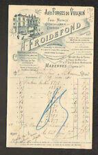 """MARENNES (17) QUINCAILLERIE / AUX FORGES DE VULCAIN """"A. FROIDEFOND"""" en 1910"""