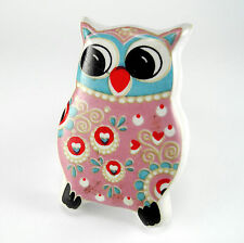 4 Pink Owl Cabinet Knobs Ceramic Drawer Pulls Children's Furniture Nursery #C94
