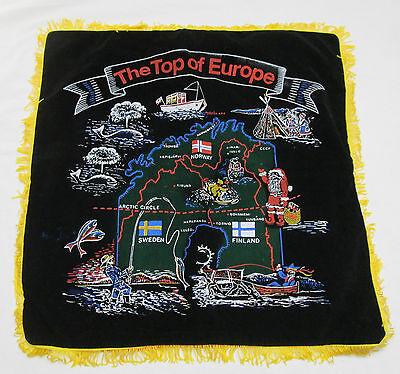 "Vintage Black Velvet Fringe Souvenir Pillow Case ""The Top Of Europe"" Norway etc."