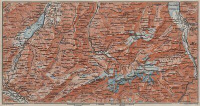 2019 New Style Engelberg Environs. Uri/urner Alps Titlis Blackenstock Sarnen Altorf 1909 Map